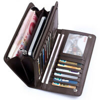 Men's Leather ID Card Holder Zip Wallet Purse Clutch Checkbook Billfold 2 Colors