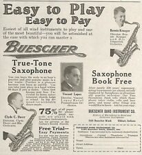1923 BUESCHER TRUE TONE SAXOPHONE INSTRUMENT AD ADVERTISEMENT ELKHART INDIANA
