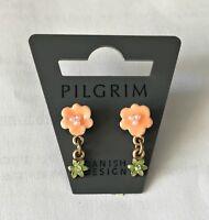 NEW PILGRIM GOLD EARRINGS GREEN CRYSTALS ENAMEL PASTEL FLOWERS DROP DANGLE RARE