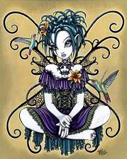 Hummingbird Fariy Art Signed Print Gothic Tiger Lily Faery Lillian Myka Jelina