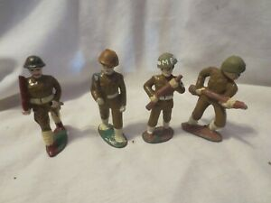Vintage Barclay Manoil ? Army Soldiers  Figures LOT of 4