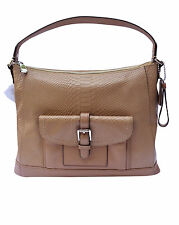 COACH Charlie Python Leather Hobo Tote Camel/Beige $498 F31283