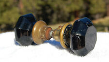 Antique BLACK AMETHYST glass door knobs FUNCTIONAL and EXCELLENT matched set