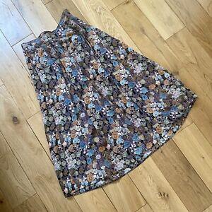St Michael Marks & Spencer Floaty Floral Pleat Summer MIDI Skirt Size 14/16