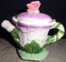 3 PC Vintage Dollhouse Collectible Miniature Tea Pot Ceramic Floral Motif Russ