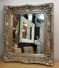 Antique Champagne Silver Ornate Vintage French Beveled Wall Mirror 85x75cm