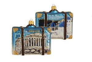 Greece Suitcase Travel Polish Glass Christmas Ornament Decoration 110035
