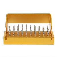30Pcs Dental Diamond High Speed Burs Drills + Gold Aluminum Holder Bur Block fr