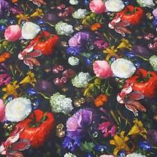 Stoff Meterware Baumwolle schwarz bunt Blumen alte Meister Blüten Digitaldruck