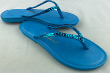 Blue Sequin Flip Flops Sandals MAX COLLECTIONS Size 8