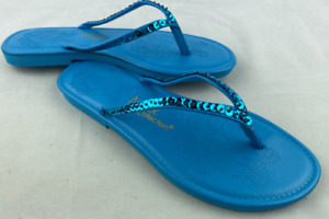 Blue Sequin Flip Flops Sandals MAX COLLECTIONS Size 9