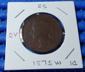 1875W Straits Settlements Queen  Victoria One Cent Coin