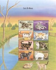 Central Africa Cats Of The World Stamps Sheet 8V 1999 Mnh American Bobtail Pet