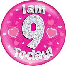 "6"" Jumbo Badge I am 9 Today Pink Holographic Dot"