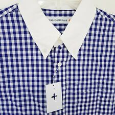 Head Porter Plus Mens Gingham Cleric Short Sleeve Shirt Blue Size L