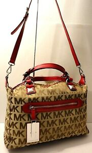 Michael Kors MK Print Khaki Red Leather Trim Tote Office Shoulder Purse Bag