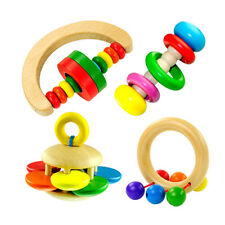 AC_ LC_ Cute Baby Kids Colorful Wooden Rattle Toy Handbell Musical Education _GG