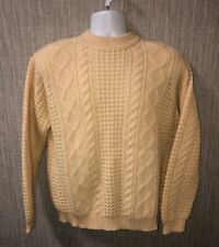 Vtg Panda Mens 100% Wool Beige Crewneck Cable knit Sweater Size XL