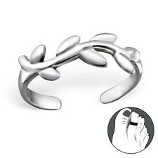 Pretty 925 Sterling Silver Vine Leaves Nature Design Womens Toe Ring Gift Boxed