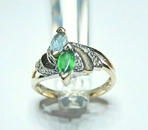 *VINTAGE* 10k Yellow Gold Marquise Blue Topaz & Emerald Ring With Diamonds 6.25