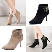 New Womens Faux Suede Kitten Heel Ankle Boots Pointed Toe Shoes Casual Booties