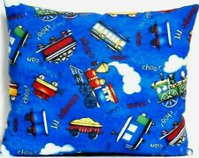 Toddler Pillow for Trains on Blue 100%Cotton T7 New Handmade