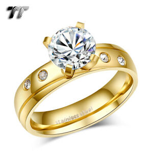 TT 14K GP Multi-Clear CZ Stainless Steel Engagement Wedding Band Ring (R328)