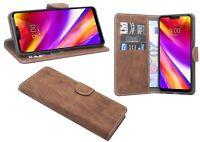 Book-Style Handyhülle Tasche Case Cover Etui Zubehör in Braun für LG G7 ThinQ