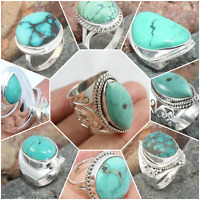 925 SOLID STERLING SILVER TIBETAN TURQUOISE HANDMADE JEWELRY RING SIZE 5 TO 9