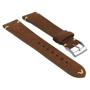 StrapsCo Suede Vintage Hand-Stitched Leather Watch Band Strap - Standard Length