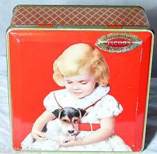 "SUPER VINTAGE JACOBS BISCUIT TIN C1950s ""GOOD COMPANIONS""DOG TERRIER PUPPY"