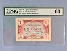 French Equatorial Africa P-2-A; 1 Franc; ND(1917); PMG Graded 63 (Stain)