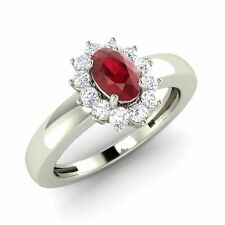 Certified 0.82 Cts Oval Cut Ruby & Real Diamonds Halo Ring Size 4, 5, 6, 7, 8, 9