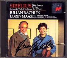 Julian RACHLIN Signed SIBELIUS Violin Concerto Serenade En Saga CD Lorin MAAZEL