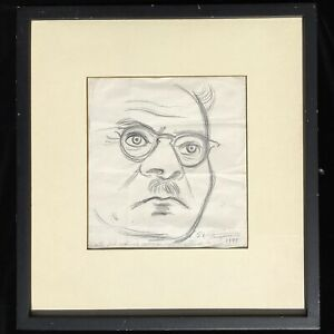 Raul Anguiano Original Pencil Drawing, portrait of Jose Clemente Orozco, Mexico