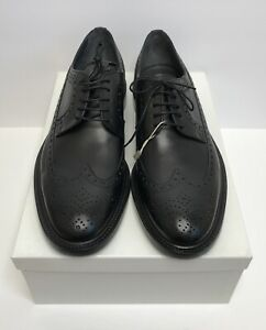 Hugo Boss Mens Kender Polished Leather Wingtip Brogues Shoes US 12.5 Black B106