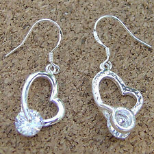Beautiful 925 Sterling Silver Plated Heart Inlay CZ  Dangle Earrings velvet bag