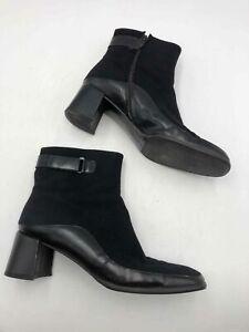 Salvatore Ferragamo Black Kitten Heel Chelsea Boots - Size 10