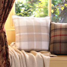 Tartan Cushions - Woven Textured Cushion Natural Cream Beige Faux Wool