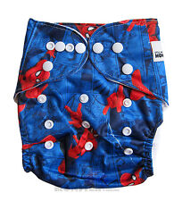 Modern Reusable Washable Baby Cloth Nappy Nappies & Insert, Blue Spiderman New