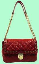 MICHAEL KORS Grommet Hippie Sloan Dark Red Quilted Leather Shoulder Bag Msrp$348