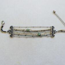 P bracciale multifilo placc oro giallo bianco argento cristalli verdi