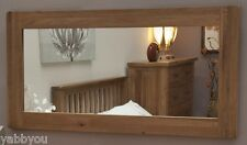 Solid Oak Rustic Wentworth Wall Mirror 90cm by 60cm Bevelled Edged Glass