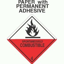 Spontaneously Combustible Class 4.2 Paper Labels D.O.T. 4X4 (ROLL OF 500)