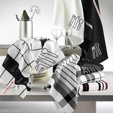 LOT 2 TORCHONS 50X70 Jacquard Noir Blanc 100% COTON  9712