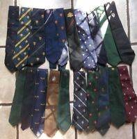 Job Lot 50 X MENS VINTAGE CLUB ASSOCIATION CRESTED TIES 1960s 1970s 1980s JOBLOT