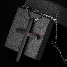 Top Quallity 316L Stainless Steel Black Cross Pendant Unisex Men's Necklace