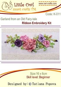 Little Owl Silk Ribbon Embroidery Kit -  Garland From an Old Fairytale - K-011 B