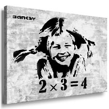 Pippi Langstrumpf LEINWAND BILD XXL 15O CM Gerahmte Wandbild Kunstdruck Banksy.