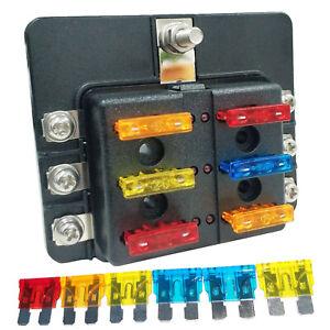 6 Way ATC ATO Blade Fuse Box Holder Power Block LED Indicator For 12V-32V Car RV